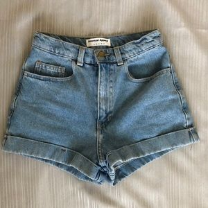 American Apparel Super High Waisted Jean Shorts